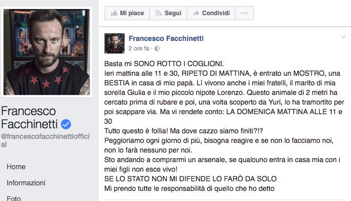 """Francesco Facchinetti sbotta sui social: """"Un mostro è entrato in casa di mio padre"""""""